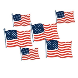 The American Flag Cutouts are made of cardstock and printed two sides. Contains 6 pieces per package. 3 cutouts measure 5 3/4 inches and 3 cutouts measure 8 1/2 inches.