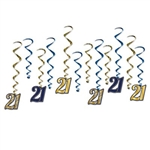 "The ""21"" Whirls are an assortment of blue and gold metallic foil spiral whirls and 6 have cardstock ""21"" attached to the end and 6 are plain. Sizes range in measurement from 17 inches to 32 inches. Contains 12 whirls per package."