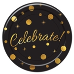 The Celebrate! Dessert Plates are black and decorated with different sized gold circles and starbursts with Celebrate! written in gold script. Measures 7 inches. Contains 8 plates per package.