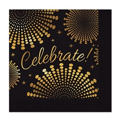The Celebrate! Luncheon Napkins are made of 2-ply paper and measure 6 1/2 inches by 6 1/2 inches. They're black and printed with celebrate in gold script and surrounded by an intricate gold design. Contains 16 napkins per package.