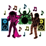 80's Hair Band Silhouettes add a rocking vibe to your party walls. Popular hair band members, along with big bass speakers and music notes are printed on card stock. Neon coloring on one side and black and white on the other. 15 total pieces per pkg.