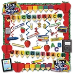 Teachers can decorate classrooms quickly and economically with our School Days Decorating Kit. Welcome your students with this 36-piece, colorful kit containing streamers, signs, hanging decorations, and fun tissue apple garlands and decorations.