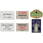 The Prohibition Cutouts are made of cardstock and printed on two sides with different designs. Sizes range in measurement from 11 inches to 14 inches. Contains six (6) per package.