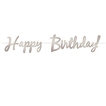 The Foil Happy Birthday Streamer - Silver is made of silver foil and printed on two sides. Each streamer measures 9 in tall and 5 ft long. Includes one cord and letters. Contains one (1) per package. Simple assembly required.