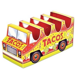 The 3-D Taco Truck Centerpiece is made of cardstock and printed on two sides. Measures 10 1/2 inches long and 5 inches tall. Each centerpiece holds 4 tacos. Contains one (1) per package. Assembly required.