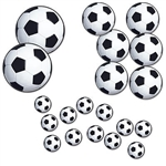 The Soccer Ball Cutouts are made of cardstock and printed on two sides. 12 measure 4 inches, 6 measure 8 inches, 2 measure 12 inches. Contains twenty (20) per package.