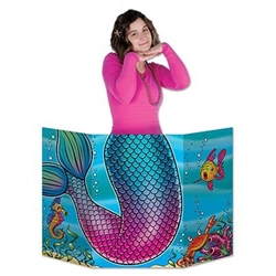 The Mermaid Tail Photo Prop is made of cardstock and printed on two sides with different designs. One side is an underwater view and the other is the underwater outline for you to color it anyway you want. Measures 37 in wide and 25 in tall. One per pack