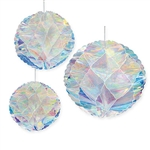 "These gorgeous iridescent honeycomb balls will add ad color, gleam and movement to your next party wherever you hang them!  Each package includes 1 x 8"", 1 x 10"" and 1 x 12"" iridescent honeycomb ball."