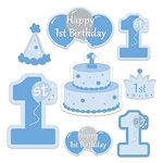"The 1st Birthday Cutouts are made of cardstock and printed on both sides with different colors, one side is blue and other is yellow. Includes a crown, a party hat, several different ""1st"" numbers, a cake, and balloons. Sized 7 in to 16 in. 8 per pack"