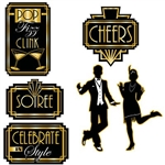 The Great 20's Cutouts are made of cardstock and printed on two sides with different designs. Sizes range in measurement from 10 1/2 inches to 16 inches. The cutouts are a black and gold color scheme. Contains six (6) pieces per package.