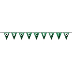 "You'll put one in the net at your Soccer/Football themed party with this Soccer/Football Pennant Streamer!  Printed both sides on high quality cardstock, you can either spell out Soccer or Football.  Cards are 6"" wide by 7.5"" tall."