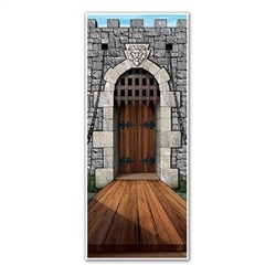 The Castle Door Cover is made of an all-weather plastic and can be used indoors and outdoors. It measures 30 inches wide and 6 feet tall. Contains one (1) package.