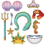 The Mermaid Photo Fun Signs are made of cardstock and printed on two sides with different designs. Includes cutouts of an eel, star, crabs, stars and so much more. Sizes range from 4 1/2 inches to 18 inches. Contains 10 pieces per package.