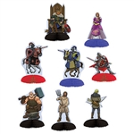These Medieval Mini Centerpieces will let you hold court on your table top!  8 medieval characters from King to peasant are included.  Each is printed both sides on high quality cardstock.