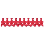Big, red, and crawfish!  This 14' long Crawfish Tissue Garland will look great as part of your Mardi Gras or Crawfish themed party decorations.  Easy to hang and no assembly required.  With care, this garland is reusable.
