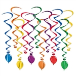 "Hang these balloon whirls to add a kinetic point of interest. They look great as the slightest movement of air makes them twirl and spin. Each package contain - six 17.5 inch whirls & six 32"" long whirls with balloon danglers."