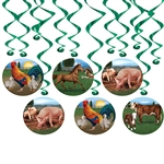 Add a down on the farm feel without having to pay a vet with our Farm Animal Whirls.  ​The package contains 6 whirls and 6 danglers and is just what you need for your farm, country or western themed party.