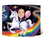 Ride a magical Unicorn on a rainbow through space; or be the unicorn in an idealistic forest complete with waterfall when you have our Unicorn Photo Prop at your next party.