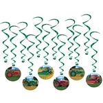"Get the hoe down going at your next farm themed party with these fun and colorful Tractor Whirls!  Each 12 piece package comes with six 17.5"" long plain whirls and six 32.5"" long whirls with tractor danglers."