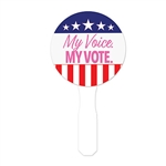 The race has been hot and heavy, let voters cool off after casting their ballot with this My Voice My Vote spirit fan!