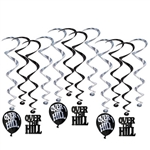 Each package contains 6 17.5 inch whirls and 6 32 inch whirls with danglers.  The danglers include 3 each Over the Hill balloon cutouts and Over The Hill letter cutouts.  Danglers are 6.5 inches tall.  Easy to hang with included plastic hook. and reusable