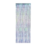 Whether you hang it on a wall, in a doorway or from the ceiling - this 3' x 8' Iridescent Fringe Curtain will be eye catching!  Completely assemble and easy to hang.  Reusable with care.