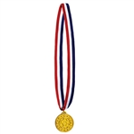 Honor your participants with this classic gold medal on a red, white and blue ribbon.  The molded plastic medal is 2 inches in diameter and hung from a 30 inch ribbon.