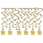 "Celebrating a 50th anniversary?  Add these bright, colorful and interesting 50th Anniversary Whirls to your decorating plans.  Each package contains 12 whirls, six 17.5"" long plain whirls and six 32"" long whirls with foil 50 danglers."