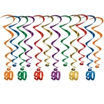 "Every decade deserves a celebration, these whirls are sure to help make your 9th decade Instagram ready!  These multi colored whirls come 12 to a pack. There are six 17.5 inch whirls and six 32 inch whirls with ""90"" danglers attached."