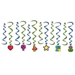 Take your party old-school with a classic 8-Bit theme!  This 12 piece set of 8-Bit Whirls ads color, fun and movement in a style perfect for a retro 80's themed party.  Package includes 6 x 17.5 inch whirls and 6 x 35 inch whirls with hangers.