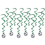 You're sure to score a goal at your next soccer themed party with these Soccer Ball Whirls. Each package includes six 17.5 inch green whirls and six 34.75 inch whirls with soccer ball hangers printed both sides on high quality cardstock.