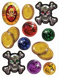 Pirate Treasure Stickers (4 sheets/pkg)