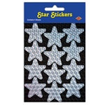 Silver Prismatic Star Stickers (2 sheets/pkg)