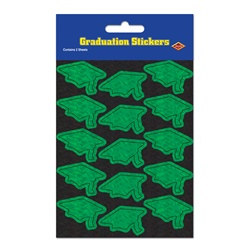 Prismatic Green Grad Cap Stickers (2 sheets/pkg)