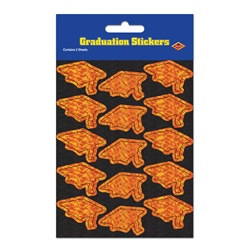 Prismatic Orange Grad Cap Stickers (2 sheets/pkg)
