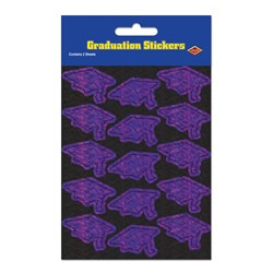 Prismatic Purple Grad Cap Stickers (2 sheets/pkg)