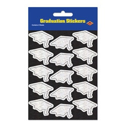 Prismatic White Grad Cap Stickers (2 sheets/pkg)