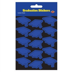 Blue Graduation Cap Stickers