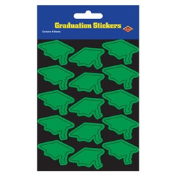 Green Graduation Cap Stickers