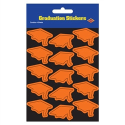 Orange Graduation Cap Stickers