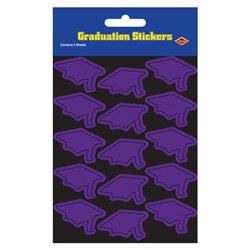 Purple Graduation Cap Stickers