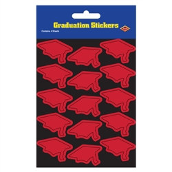 Red Graduation Cap Stickers