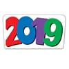 The 2019 Cutout is made of cardstock and printed on two sides. 2019 is printed with red, blue, purple and green numbers. Measures 18 3/4 inches wide and 10 1/2 inches tall. Contains one (1) per package.