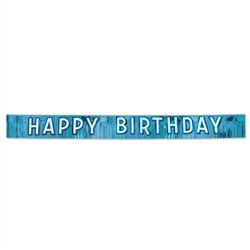 Metallic Blue Happy Birthday Banner