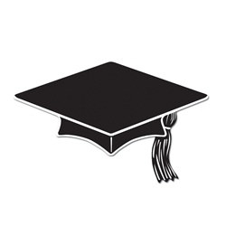 Black Mini Grad Cap Cutouts (10/pkg)