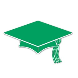 Green Mini Grad Cap Cutouts (10/pkg)