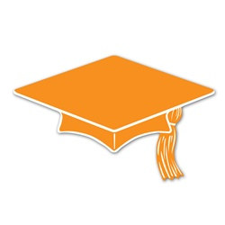 Orange Mini Grad Cap Cutouts (10/pkg)