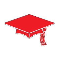 Red Mini Grad Cap Cutouts (10/pkg)