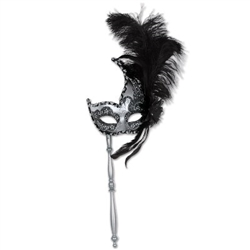 Silver and Black Glitter Feather Mask w/ Stick