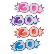 "Assorted Mini Glittered Foil ""30"" Cutouts (8/Pkg) (Assorted Colors)"